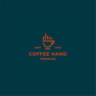 Logo del caffè di linea semplice con le dita della mano e la tazza di caffè