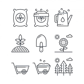 Set di icone di fertilizzante linea semplice