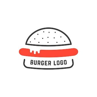 Logo semplice dell'hamburger lineare. concetto di distintivo della cucina, cibo spazzatura malsano, fetta, salsiccia, servizio nutrizionale. illustrazione vettoriale di design grafico di marca moderna tendenza stile piatto su sfondo bianco