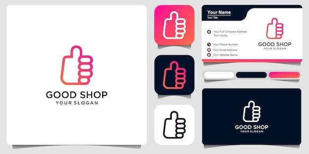 Logo semplice buon negozio con combinazione mano e borsa, modello di progettazione del logo vettore premium