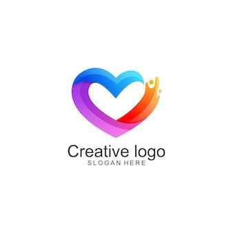 Modello di logo colorato amore semplice