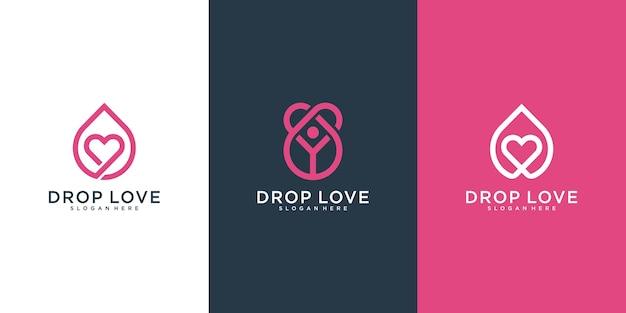 Modello di logo di goccia di amore semplice con concetto di linee sovrapposte
