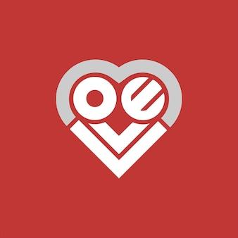 Semplice testo del logo dell'amore nel vettore a forma di cuore