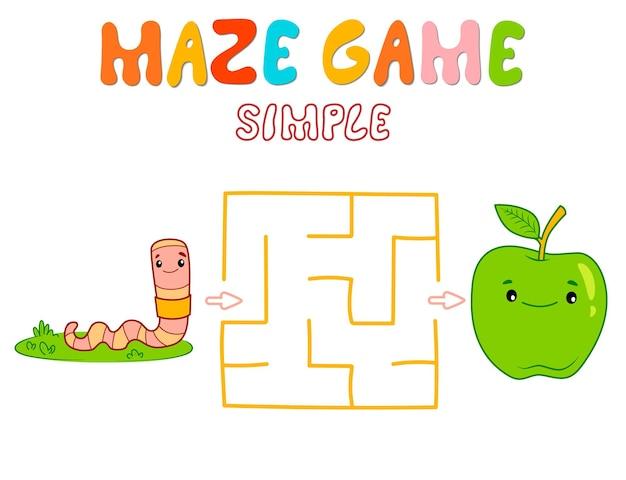 Semplice gioco di puzzle labirinto per bambini. colore semplice labirinto o gioco del labirinto con verme. illustrazioni vettoriali