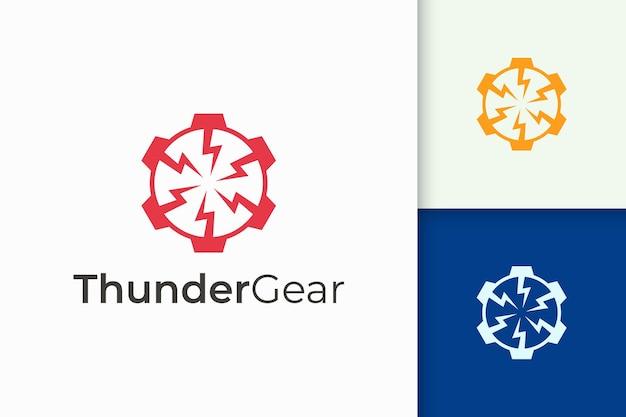 Logo meccanico semplice dalla combinazione di forma di fulmine e ingranaggio
