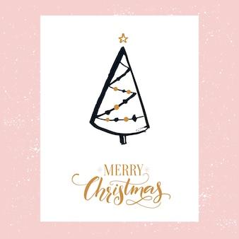 Design semplice della cartolina di buon natale con l'albero di natale disegnato a mano decorato.