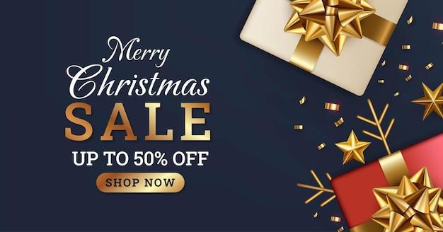 Semplice modello di progettazione di banner di vendita di buon natale con scatola regalo rossa e bianca