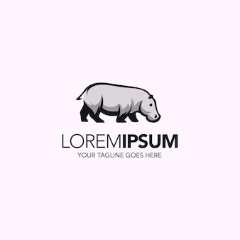 Semplice minimalista linea astratta arte ippopotamo logo design