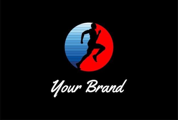 Sprint di corsa umana semplice minimalista dell'uomo per lo sport atletico logo design vector