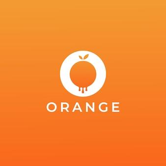 Logo arancione gocciolante semplice e minimalista moderno