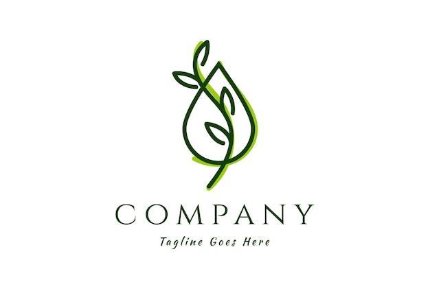 Goccia liquida semplice e minimalista dell'olio dell'acqua con la foglia per l'estratto di erbe della natura logo design vector