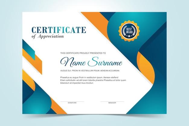 Modello di certificato moderno semplice