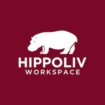 Logo ippopotamo semplice e moderno per il team della comunità aziendale aziendale ecc