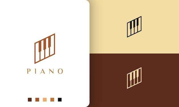 Semplice e moderno impara il logo o l'icona del pianoforte
