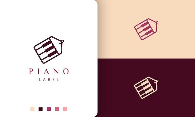 Logo semplice e moderno o icona dell'etichetta per il negozio di pianoforti