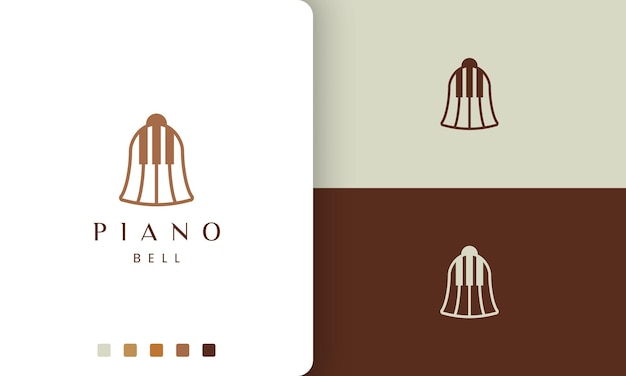 Logo o icona del pianoforte semplice e moderno a forma di campana