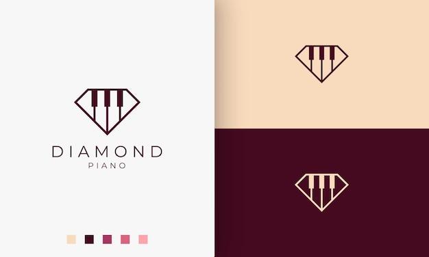 Logo o icona della scuola di pianoforte semplice e moderno a forma di diamante