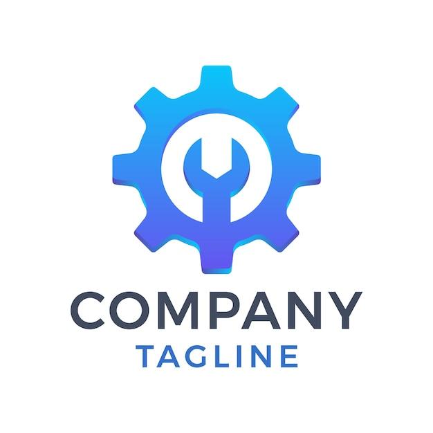 Design semplice e moderno del logo blu sfumato dell'ingranaggio della chiave di riparazione