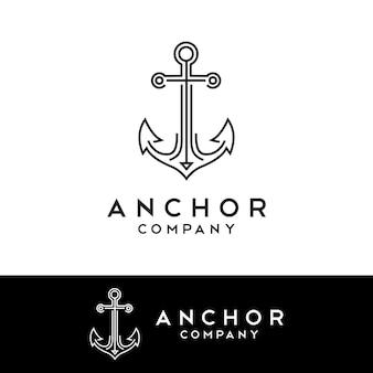 Design del logo nautico della nave dell'ancora della barca dell'ancora di linea semplice semplice