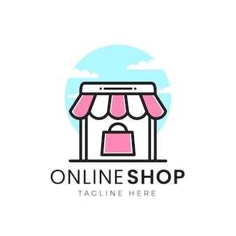 Semplice concetto di logo del negozio online