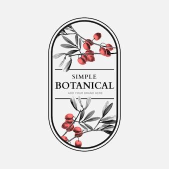 Semplice logo aziendale organico vettoriale con illustrazione vintage per marchio di bellezza
