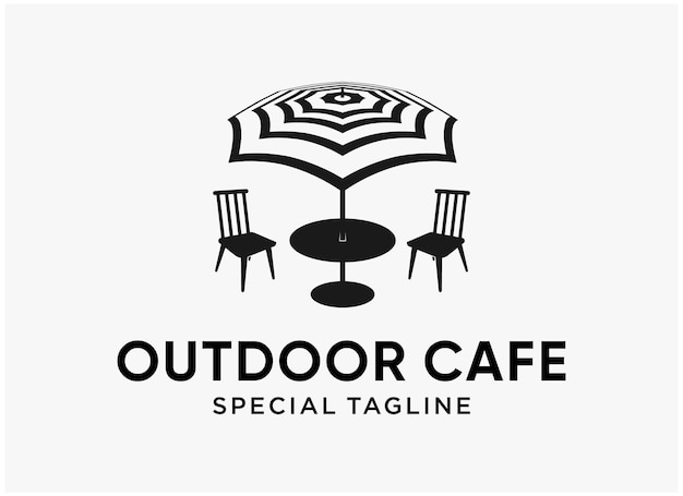 Design semplice del logo della spiaggia del caffè all'aperto