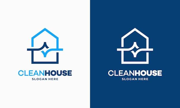 Concetto di design del logo clean house semplice contorno, vettore del logo del servizio di pulizia