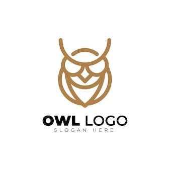 Simple owl monoline geometric logo design creativo