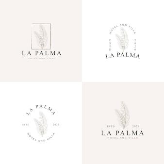 Raccolta semplice del logo dell'illustrazione delle foglie di palma