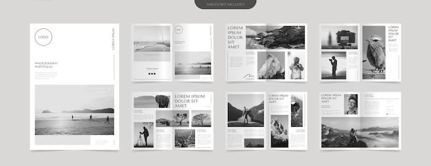 Modello di progettazione del layout del portfolio fotografico semplice