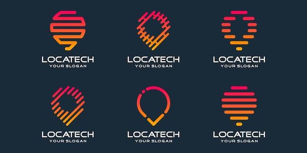 Set di icone di posizione pin semplice, elemento combinato digitale o dati. modello di progettazione del logo