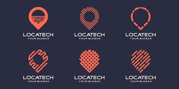 Set di icone per la posizione del pin semplice, elemento combinato digitale o dati. modello di progettazione del logo