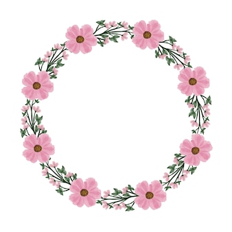 Semplice cornice circolare ghirlanda rosa con fiore rosa e bordo foglia verde