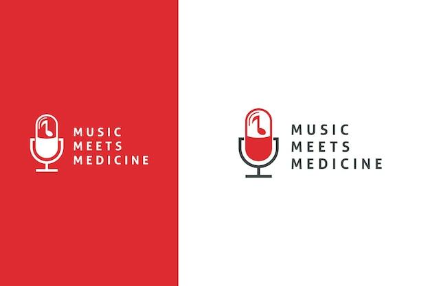 Design semplice del logo del podcast per il concetto di pillola medica