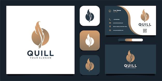 Semplice design del logo della penna d'oca e biglietto da visita