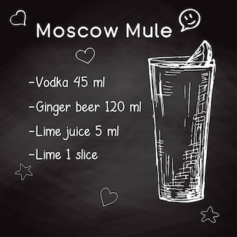 Ricetta semplice per un cocktail alcolico moscow mule. gesso di disegno su una lavagna. illustrazione vettoriale di uno stile di schizzo.