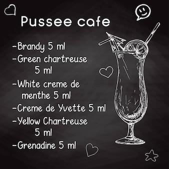 Ricetta semplice per un cocktail alcolico caffè pussee. gesso di disegno su una lavagna. illustrazione vettoriale di uno stile di schizzo.