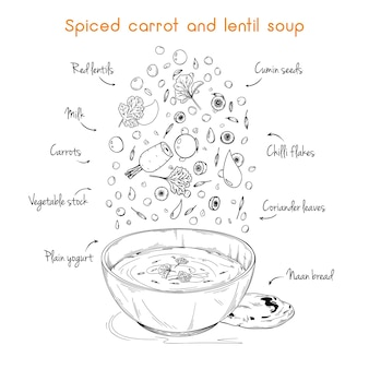 Ricetta semplice per la zuppa. zuppa speziata di carote e lenticchie. illustrazione
