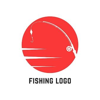 Logo di pesca rosso semplice. concetto di tempo libero, vacanza attiva, spinning, badge aziendale, fauna selvatica, pesca sportiva. isolato su sfondo bianco. illustrazione vettoriale di design moderno del marchio di tendenza in stile piatto