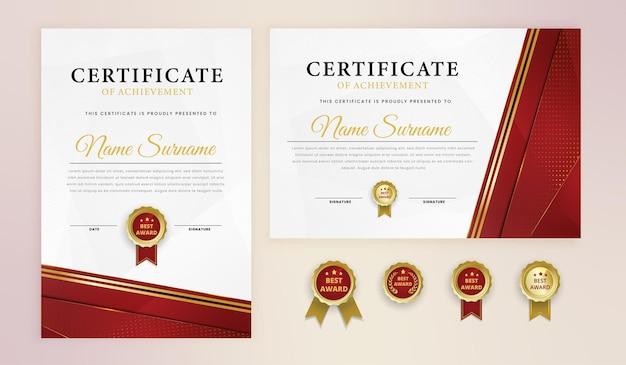 Modello di premio certificato semplice oro rosso elegante