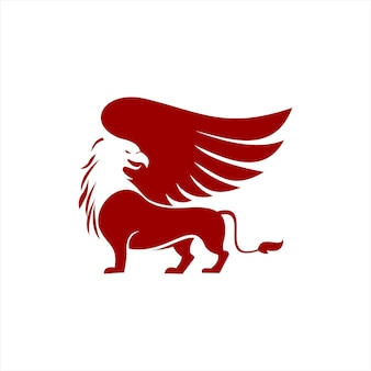 Semplice grifone rosso vettore animale alato