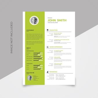 Design semplice del curriculum con accento verde