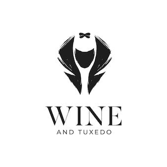 Semplici modelli rustici di vino e smoking logo disegnati a mano
