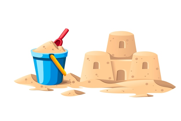 Semplice castello di sabbia con secchio blu e pala rossa cartoon design