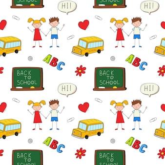 Un modello semplice senza soluzione di continuità per la scuola con lavagna, autobus, bambini. sfondo vettoriale scarabocchio colorato
