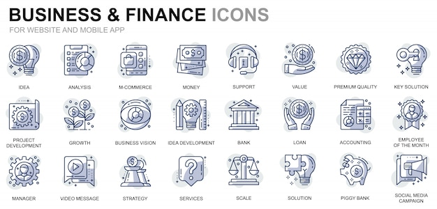 Set di icone semplici di affari e finanza per app per siti web e dispositivi mobili