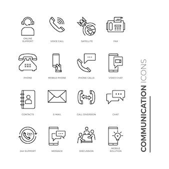 Insieme semplice dell'icona di comunicazione, icone relative alla linea di vettore.