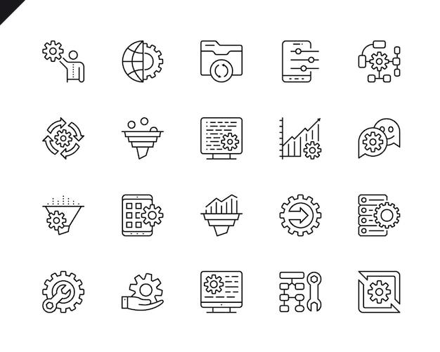 Semplice set di icone di linea di vettore relative elaborazione dei dati.