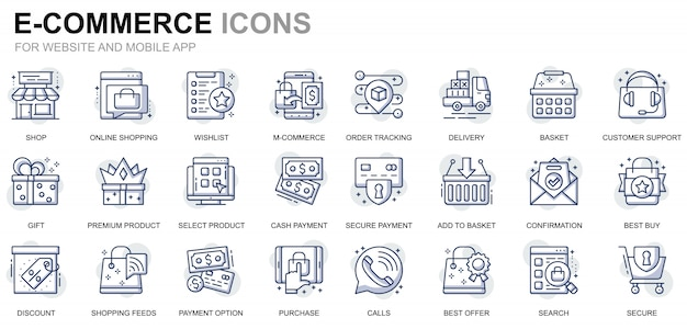 Set di icone semplici per e-commerce e shopping line per siti web e app mobili