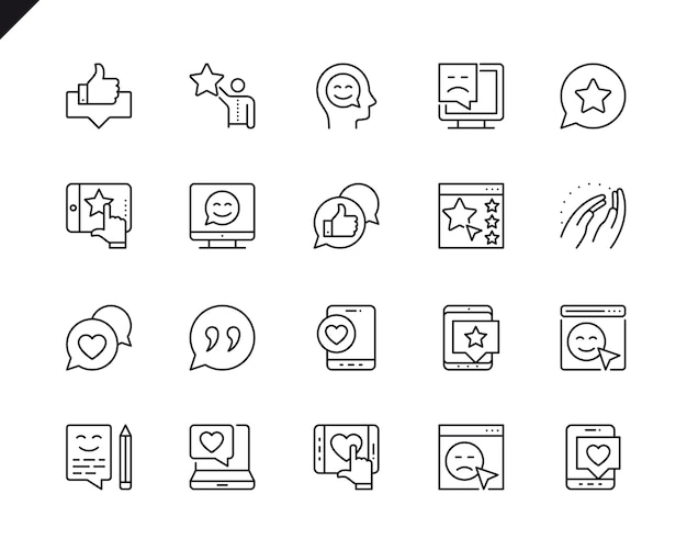 Semplice serie di feedback relative icone linea vettoriale.